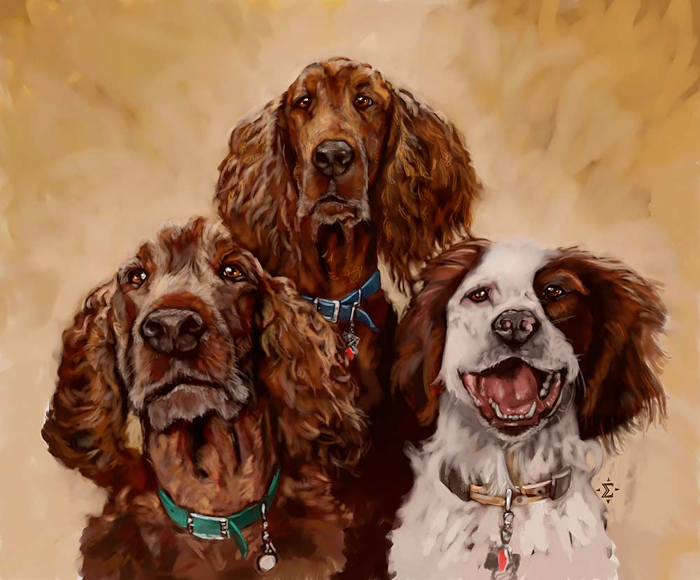 Custom pet portrait of three dogs