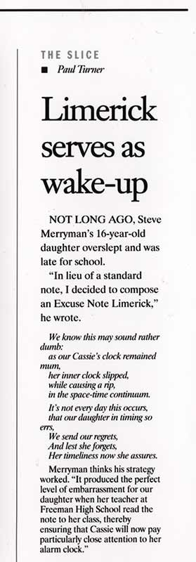 Limerick Excuse Note